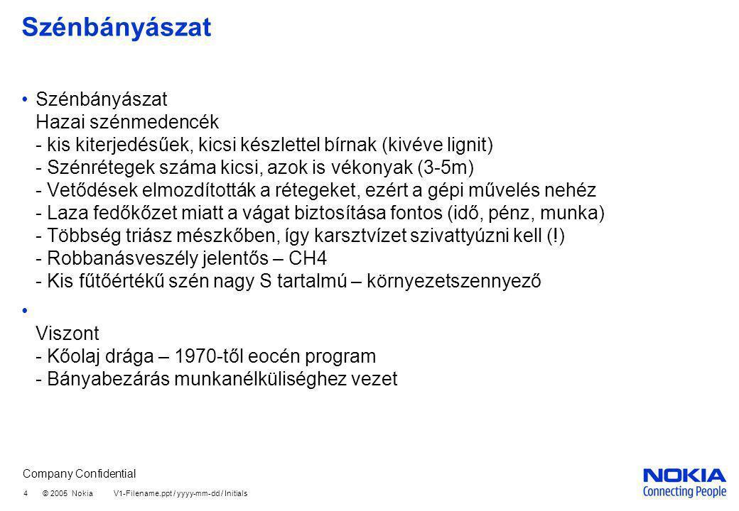Company Confidential 4 © 2005 Nokia V1-Filename.ppt / yyyy-mm-dd / Initials Szénbányászat Szénbányászat Hazai szénmedencék - kis kiterjedésűek, kicsi