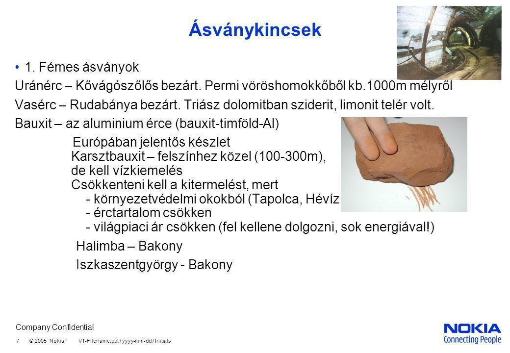 Company Confidential 7 © 2005 Nokia V1-Filename.ppt / yyyy-mm-dd / Initials Ásványkincsek 1. Fémes ásványok Uránérc – Kővágószőlős bezárt. Permi vörös