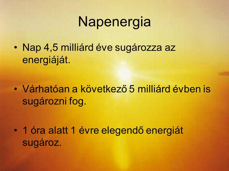 Napenergia Nap 4,5 milliárd éve sugározza az energiáját. Várhatóan a következő 5 milliárd évben is sugározni fog. 1 óra alatt 1 évre elegendő energiát