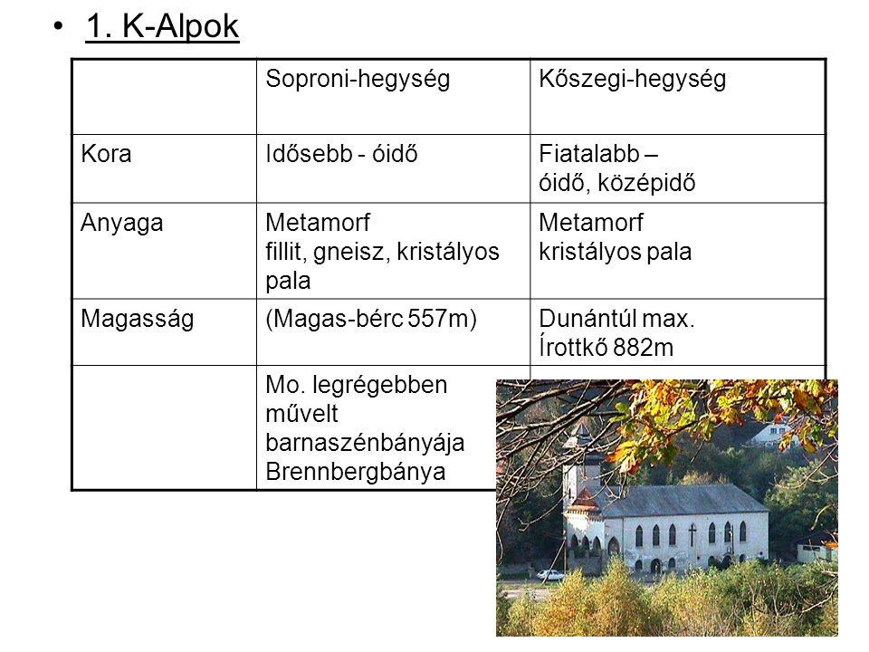 1. K-Alpok Soproni-hegységKőszegi-hegység KoraIdősebb - óidőFiatalabb – óidő, középidő AnyagaMetamorf fillit, gneisz, kristályos pala Metamorf kristál