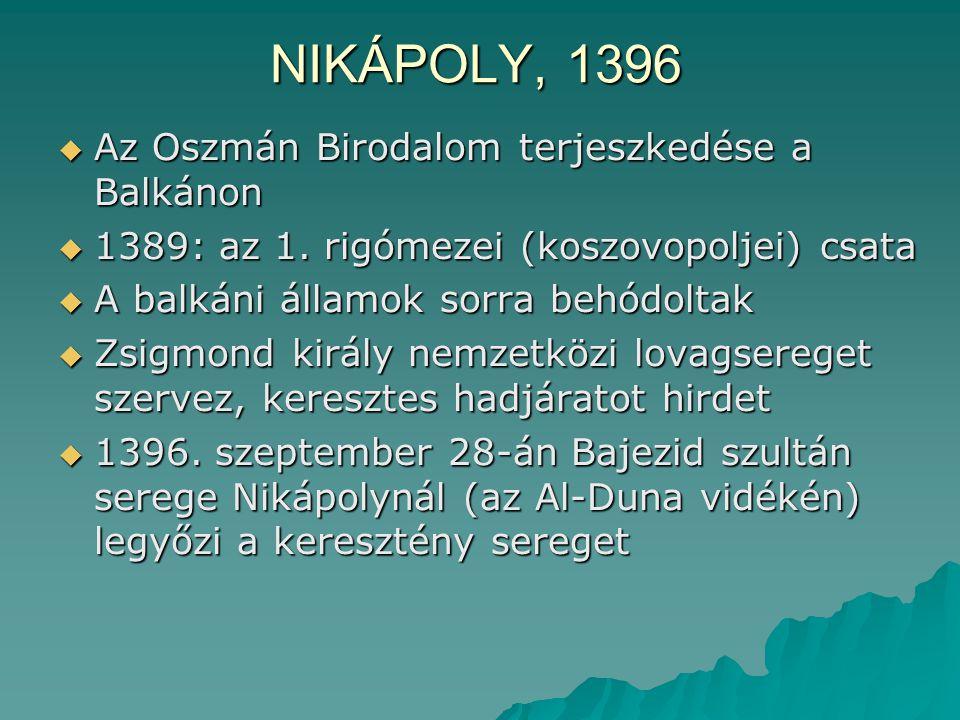 NIKÁPOLY, 1396  Az Oszmán Birodalom terjeszkedése a Balkánon  1389: az 1. rigómezei (koszovopoljei) csata  A balkáni államok sorra behódoltak  Zsi