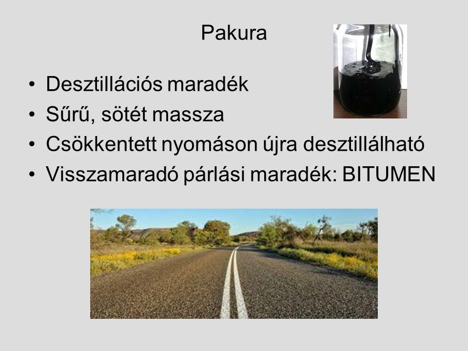 Pakura Desztillációs maradék Sűrű, sötét massza Csökkentett nyomáson újra desztillálható Visszamaradó párlási maradék: BITUMEN