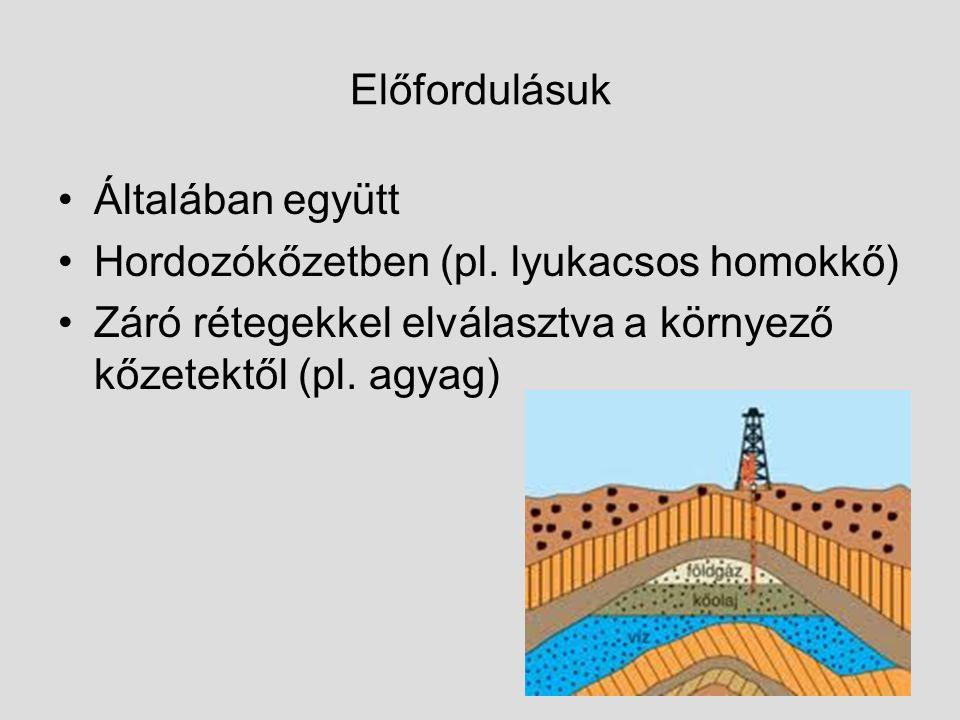 Előfordulásuk Általában együtt Hordozókőzetben (pl. lyukacsos homokkő) Záró rétegekkel elválasztva a környező kőzetektől (pl. agyag)
