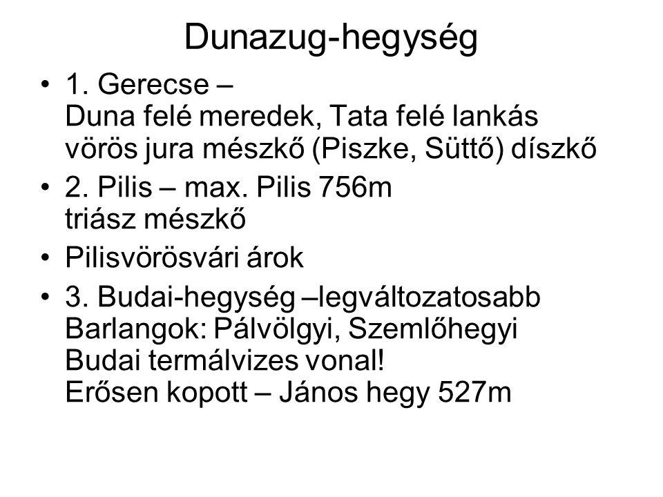 Dunazug-hegység 1. Gerecse – Duna felé meredek, Tata felé lankás vörös jura mészkő (Piszke, Süttő) díszkő 2. Pilis – max. Pilis 756m triász mészkő Pil