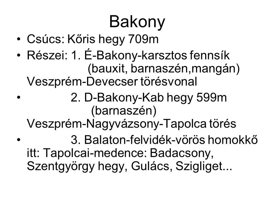 Bakony Csúcs: Kőris hegy 709m Részei: 1. É-Bakony-karsztos fennsík (bauxit, barnaszén,mangán) Veszprém-Devecser törésvonal 2. D-Bakony-Kab hegy 599m (