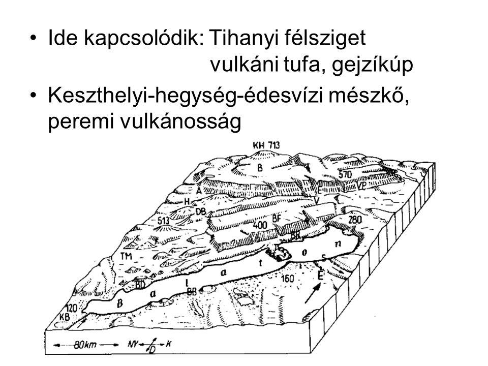 Ide kapcsolódik: Tihanyi félsziget vulkáni tufa, gejzíkúp Keszthelyi-hegység-édesvízi mészkő, peremi vulkánosság