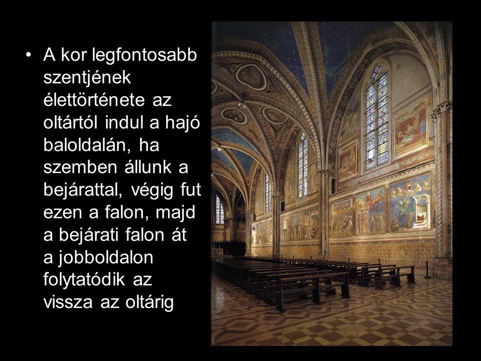 A kor legfontosabb szentjének élettörténete az oltártól indul a hajó baloldalán, ha szemben állunk a bejárattal, végig fut ezen a falon, majd a bejárati falon át a jobboldalon folytatódik az vissza az oltárig