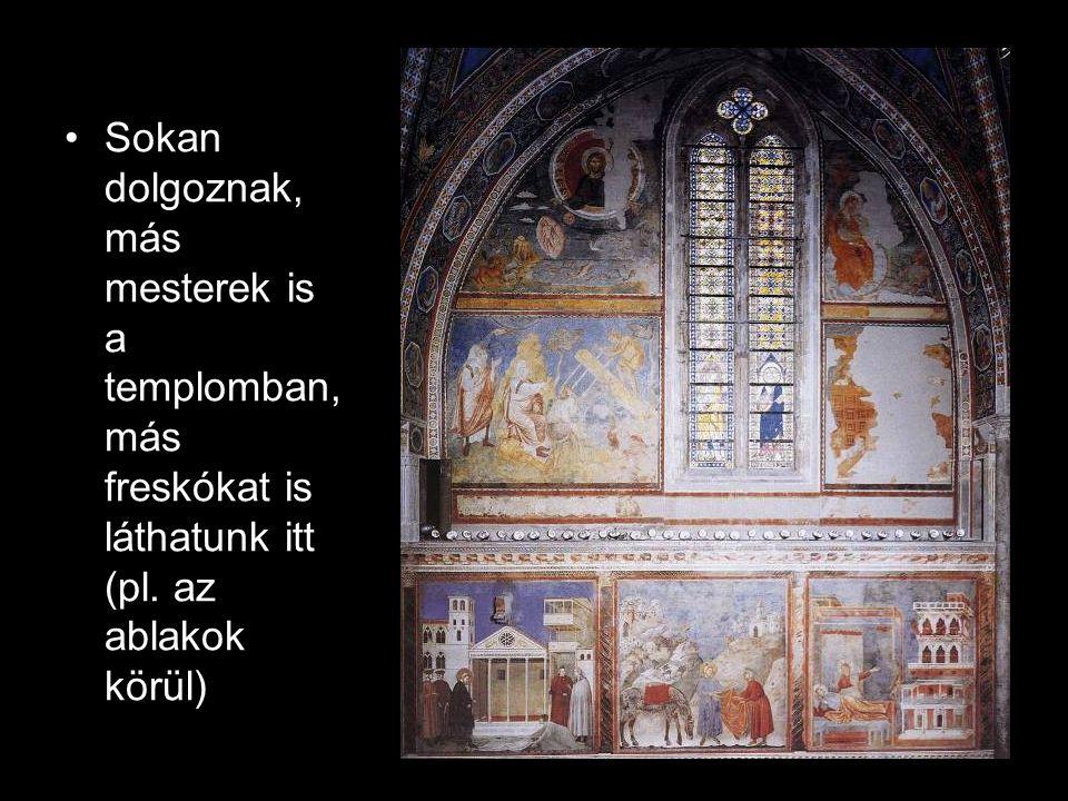Sokan dolgoznak, más mesterek is a templomban, más freskókat is láthatunk itt (pl.
