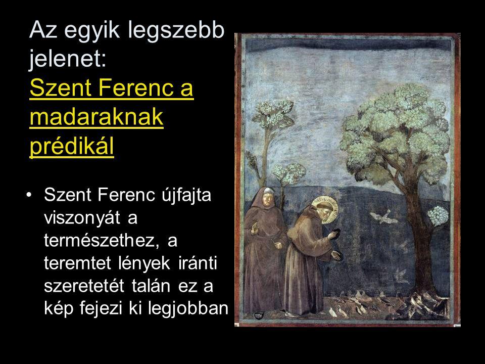 Az egyik legszebb jelenet: Szent Ferenc a madaraknak prédikál Szent Ferenc újfajta viszonyát a természethez, a teremtet lények iránti szeretetét talán ez a kép fejezi ki legjobban