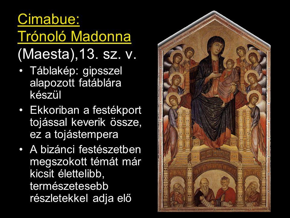 """Maesta (olasz: """"fenség ) Szűz Mária """"mennyei fenségé -ben díszes kőtrónuson angyalok vagy szentek csoportjában Giotto: Maesta"""