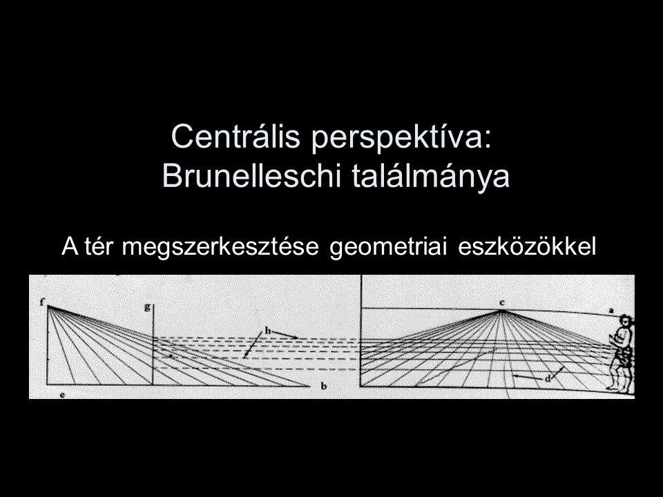 Centrális perspektíva: Brunelleschi találmánya A tér megszerkesztése geometriai eszközökkel