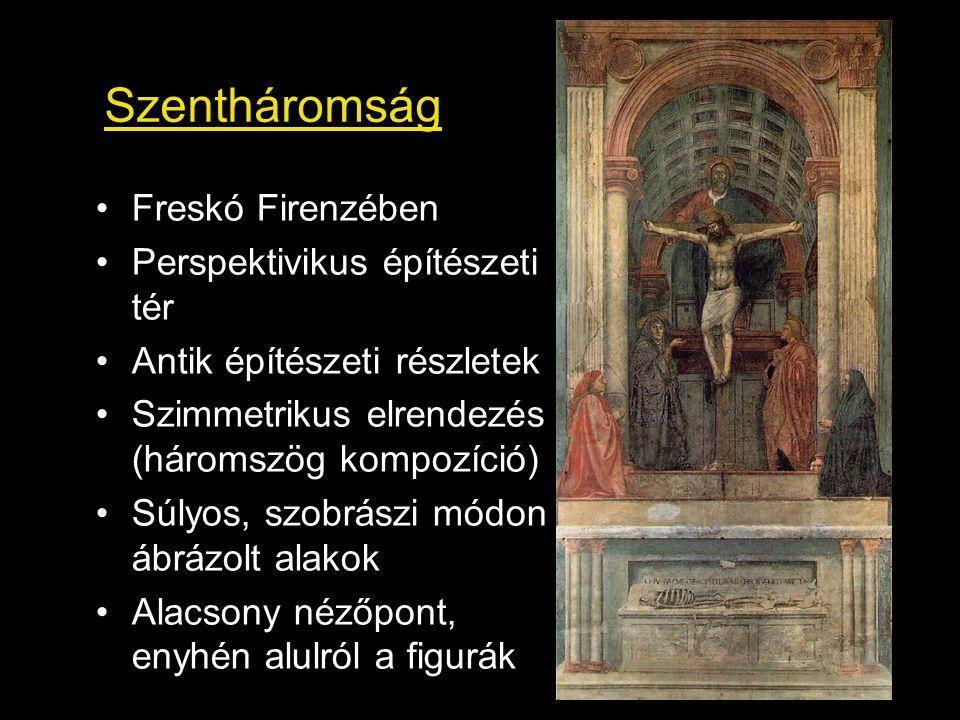 Szentháromság Freskó Firenzében Perspektivikus építészeti tér Antik építészeti részletek Szimmetrikus elrendezés (háromszög kompozíció) Súlyos, szobrá