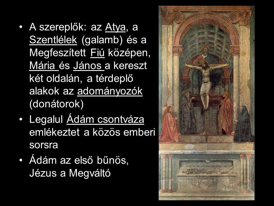 A szereplők: az Atya, a Szentlélek (galamb) és a Megfeszített Fiú középen, Mária és János a kereszt két oldalán, a térdeplő alakok az adományozók (don