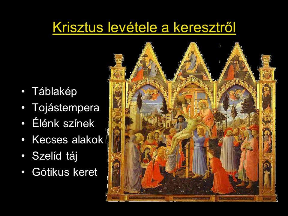 Krisztus levétele a keresztről Táblakép Tojástempera Élénk színek Kecses alakok Szelíd táj Gótikus keret