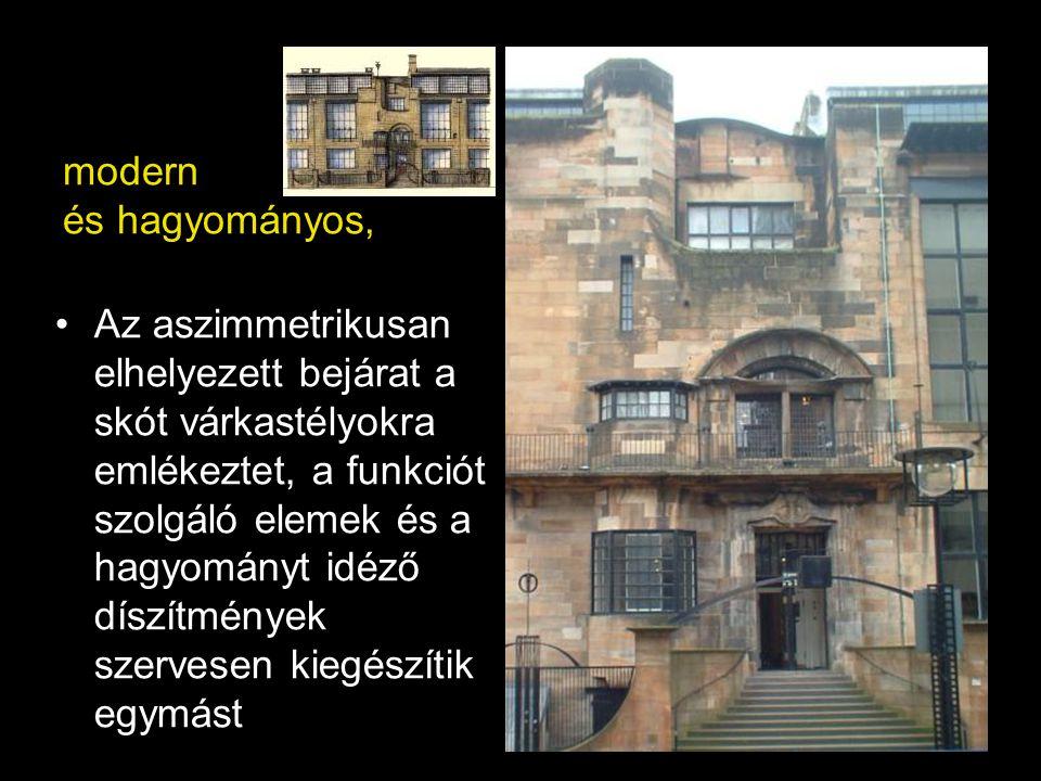 modern és hagyományos, Az aszimmetrikusan elhelyezett bejárat a skót várkastélyokra emlékeztet, a funkciót szolgáló elemek és a hagyományt idéző díszí