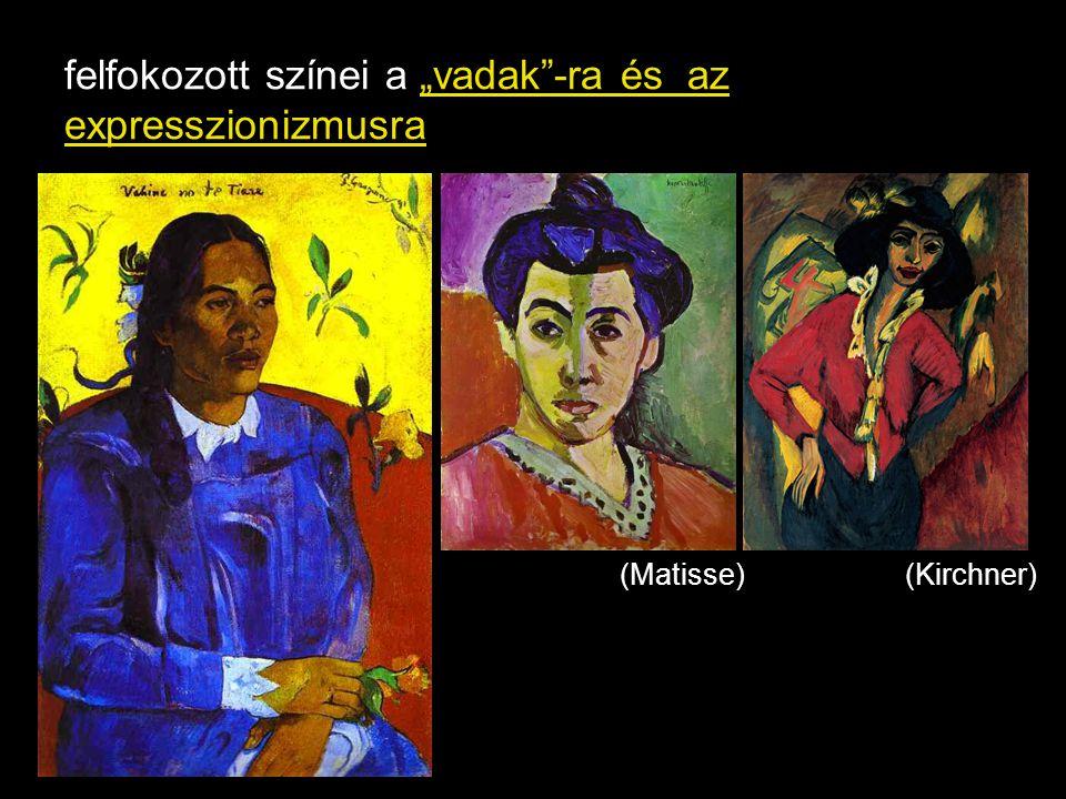 """felfokozott színei a """"vadak""""-ra és az expresszionizmusra (Matisse)(Kirchner)"""
