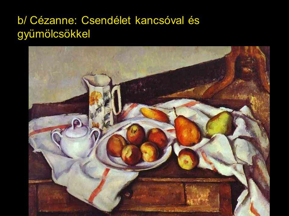 b/ Cézanne: Csendélet kancsóval és gyümölcsökkel