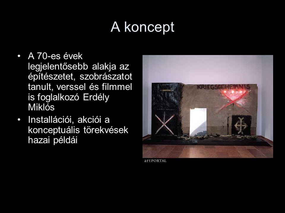 A koncept A 70-es évek legjelentősebb alakja az építészetet, szobrászatot tanult, verssel és filmmel is foglalkozó Erdély Miklós Installációi, akciói