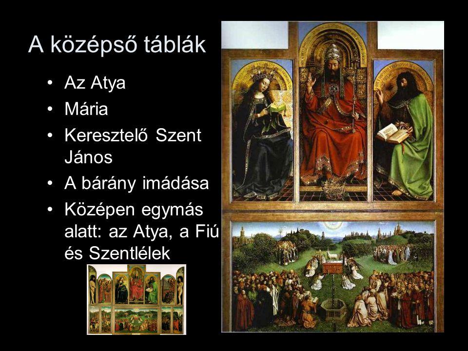 A középső táblák Az Atya Mária Keresztelő Szent János A bárány imádása Középen egymás alatt: az Atya, a Fiú és Szentlélek