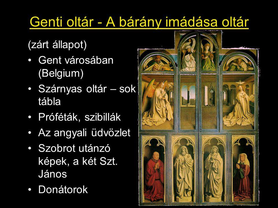 Genti oltár - A bárány imádása oltár (zárt állapot) Gent városában (Belgium) Szárnyas oltár – sok tábla Próféták, szibillák Az angyali üdvözlet Szobro