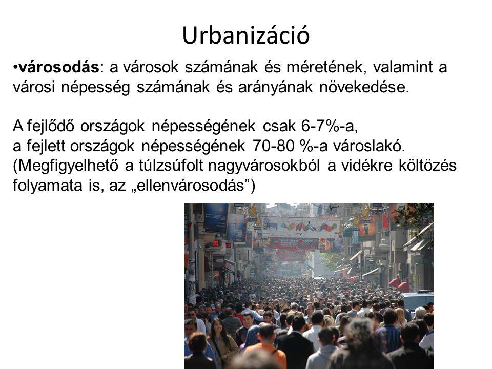 Urbanizáció városodás: a városok számának és méretének, valamint a városi népesség számának és arányának növekedése. A fejlődő országok népességének c