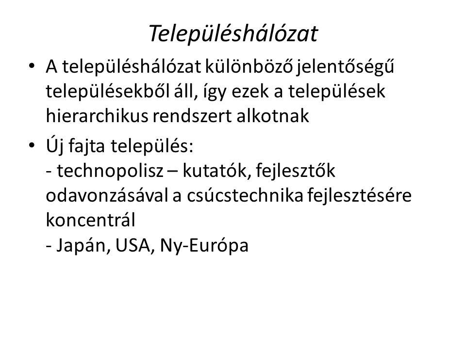 Településhálózat A településhálózat különböző jelentőségű településekből áll, így ezek a települések hierarchikus rendszert alkotnak Új fajta települé