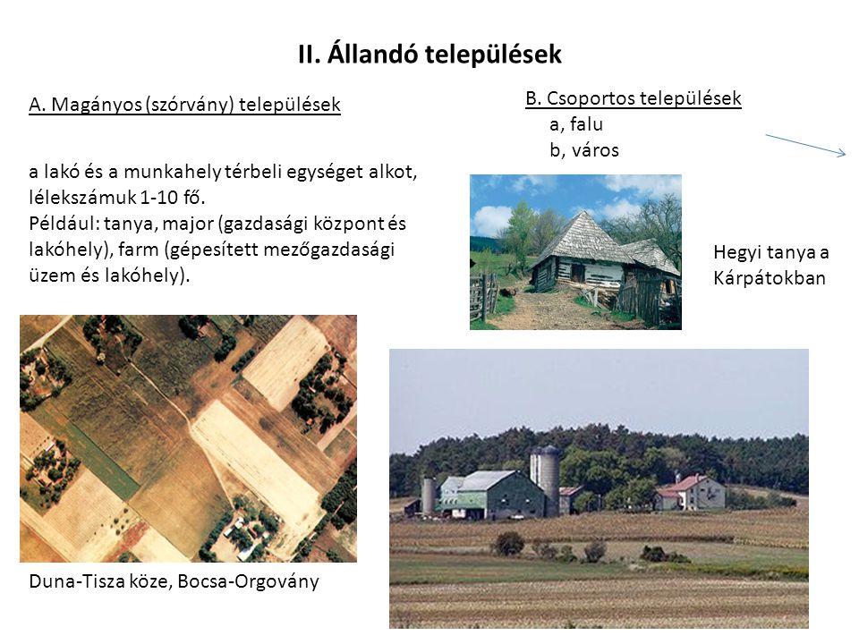 II. Állandó települések A. Magányos (szórvány) települések B. Csoportos települések a, falu b, város a lakó és a munkahely térbeli egységet alkot, lél