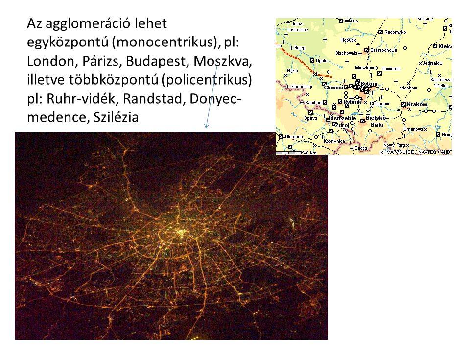 Az agglomeráció lehet egyközpontú (monocentrikus), pl: London, Párizs, Budapest, Moszkva, illetve többközpontú (policentrikus) pl: Ruhr-vidék, Randsta