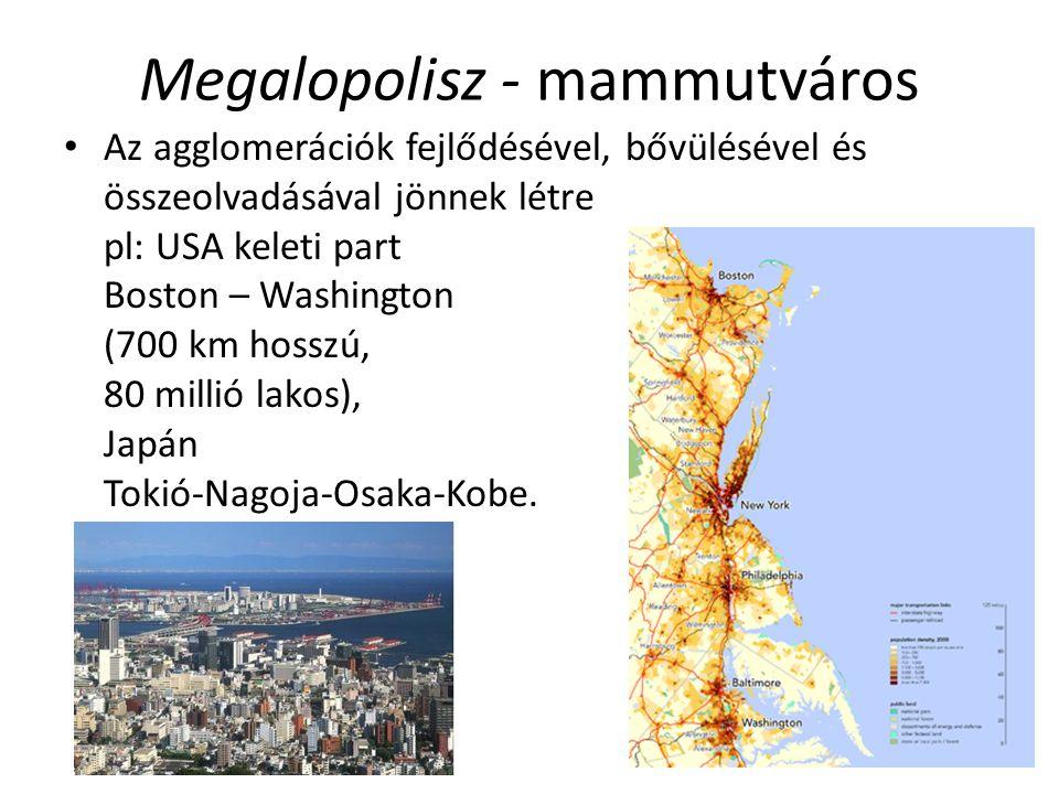 Megalopolisz - mammutváros Az agglomerációk fejlődésével, bővülésével és összeolvadásával jönnek létre pl: USA keleti part Boston – Washington (700 km