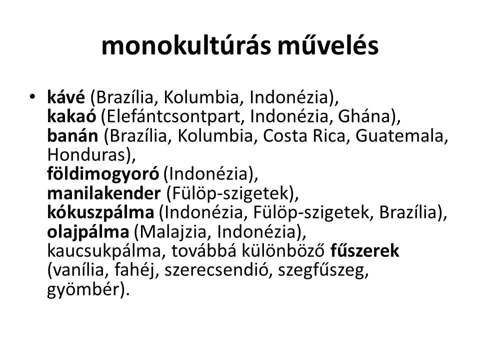 monokultúrás művelés kávé (Brazília, Kolumbia, Indonézia), kakaó (Elefántcsontpart, Indonézia, Ghána), banán (Brazília, Kolumbia, Costa Rica, Guatemal