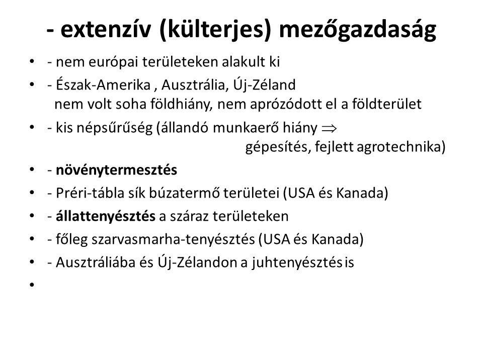- extenzív (külterjes) mezőgazdaság - nem európai területeken alakult ki - Észak-Amerika, Ausztrália, Új-Zéland nem volt soha földhiány, nem aprózódot