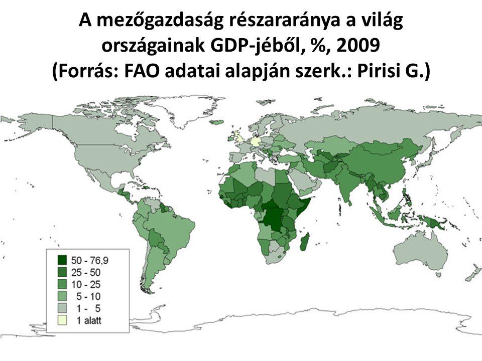A mezőgazdaság részararánya a világ országainak GDP-jéből, %, 2009 (Forrás: FAO adatai alapján szerk.: Pirisi G.)