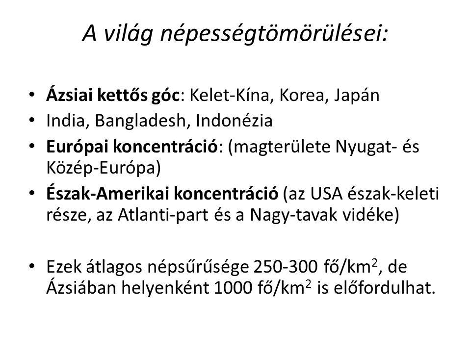 A világ népességtömörülései: Ázsiai kettős góc: Kelet-Kína, Korea, Japán India, Bangladesh, Indonézia Európai koncentráció: (magterülete Nyugat- és Kö