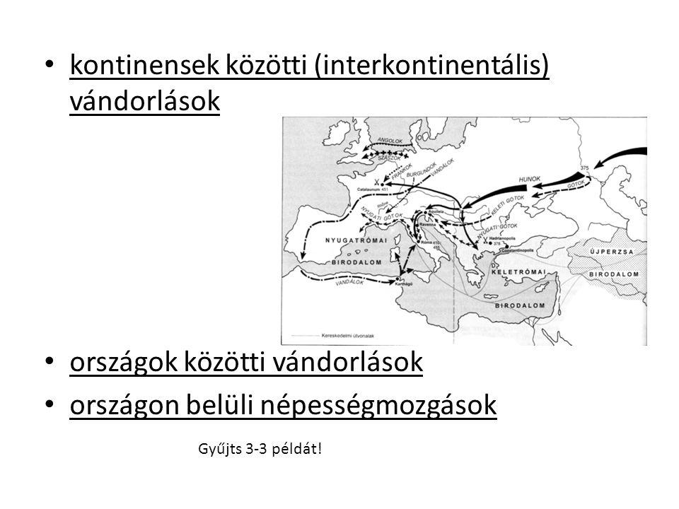 kontinensek közötti (interkontinentális) vándorlások országok közötti vándorlások országon belüli népességmozgások Gyűjts 3-3 példát!