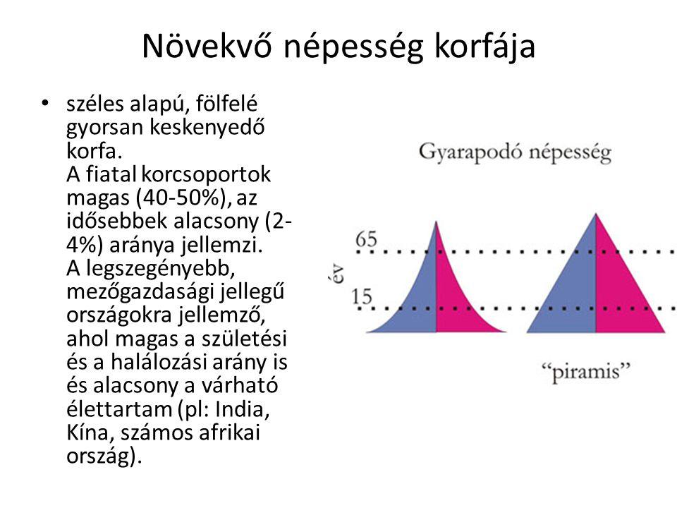 Növekvő népesség korfája széles alapú, fölfelé gyorsan keskenyedő korfa. A fiatal korcsoportok magas (40-50%), az idősebbek alacsony (2- 4%) aránya je