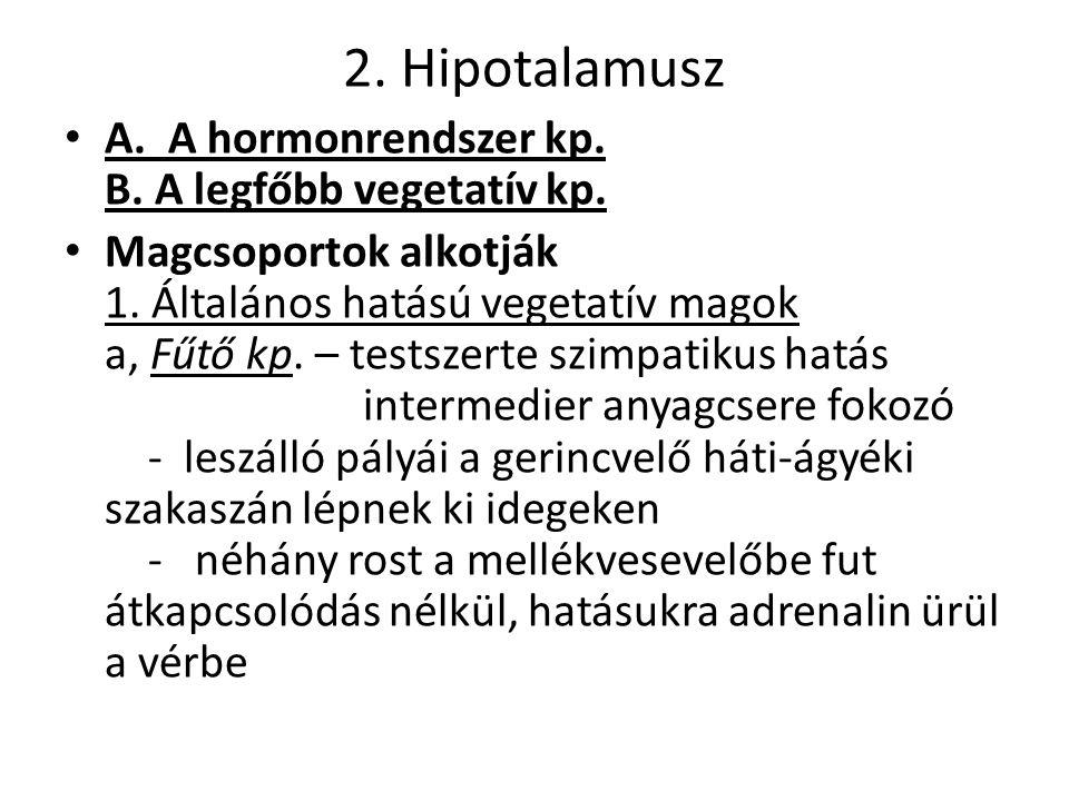 2.Hipotalamusz A. A hormonrendszer kp. B. A legfőbb vegetatív kp.