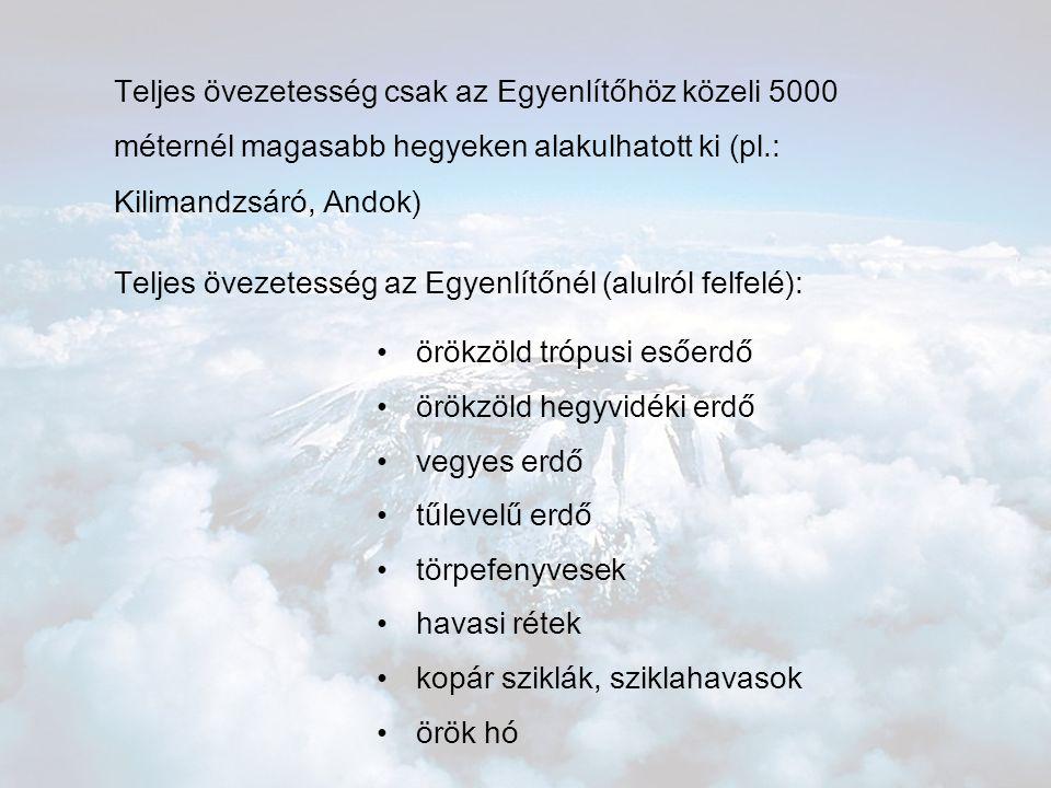 Teljes övezetesség csak az Egyenlítőhöz közeli 5000 méternél magasabb hegyeken alakulhatott ki (pl.: Kilimandzsáró, Andok) Teljes övezetesség az Egyen