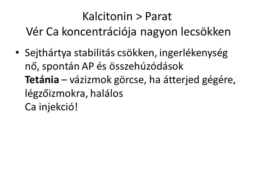 Kalcitonin ˃ Parat Vér Ca koncentrációja nagyon lecsökken Sejthártya stabilitás csökken, ingerlékenység nő, spontán AP és összehúzódások Tetánia – váz