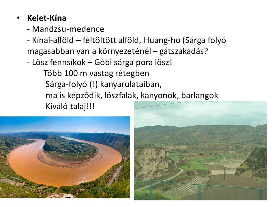 Kelet-Kína - Mandzsu-medence - Kínai-alföld – feltöltött alföld, Huang-ho (Sárga folyó magasabban van a környezeténél – gátszakadás? - Lösz fennsíkok