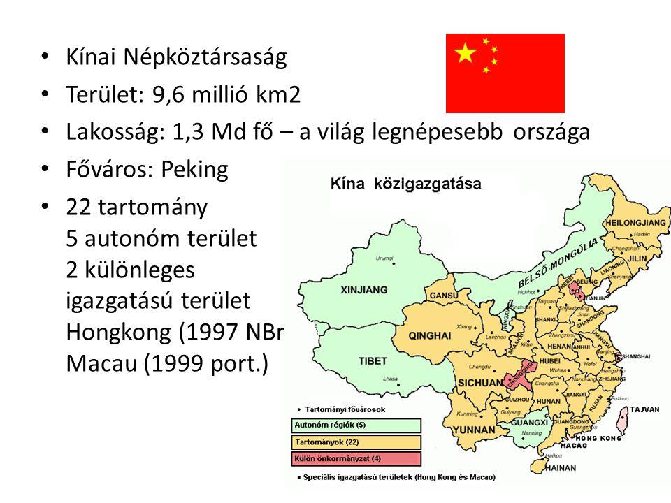 Kínai Népköztársaság Terület: 9,6 millió km2 Lakosság: 1,3 Md fő – a világ legnépesebb országa Főváros: Peking 22 tartomány 5 autonóm terület 2 különl