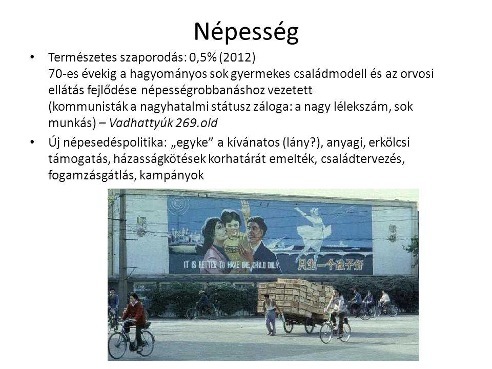 Népesség Természetes szaporodás: 0,5% (2012) 70-es évekig a hagyományos sok gyermekes családmodell és az orvosi ellátás fejlődése népességrobbanáshoz