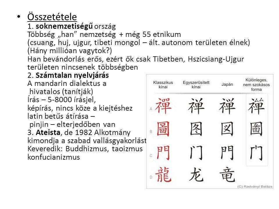 """Összetétele 1. soknemzetiségű ország Többség """"han"""" nemzetség + még 55 etnikum (csuang, huj, ujgur, tibeti mongol – ált. autonom területen élnek) (Hány"""