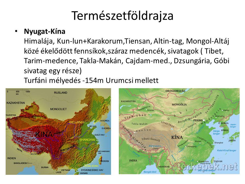 Természetföldrajza Nyugat-Kína Himalája, Kun-lun+Karakorum,Tiensan, Altin-tag, Mongol-Altáj közé ékelődött fennsíkok,száraz medencék, sivatagok ( Tibe