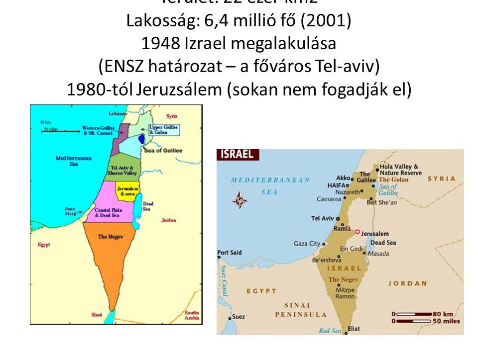 Terület: 22 ezer km2 Lakosság: 6,4 millió fő (2001) 1948 Izrael megalakulása (ENSZ határozat – a főváros Tel-aviv) 1980-tól Jeruzsálem (sokan nem foga