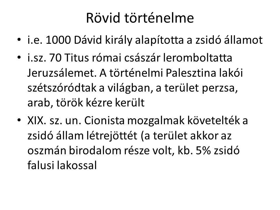 Rövid történelme i.e. 1000 Dávid király alapította a zsidó államot i.sz. 70 Titus római császár leromboltatta Jeruzsálemet. A történelmi Palesztina la