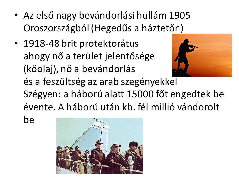 Az első nagy bevándorlási hullám 1905 Oroszországból (Hegedűs a háztetőn) 1918-48 brit protektorátus ahogy nő a terület jelentősége (kőolaj), nő a bev