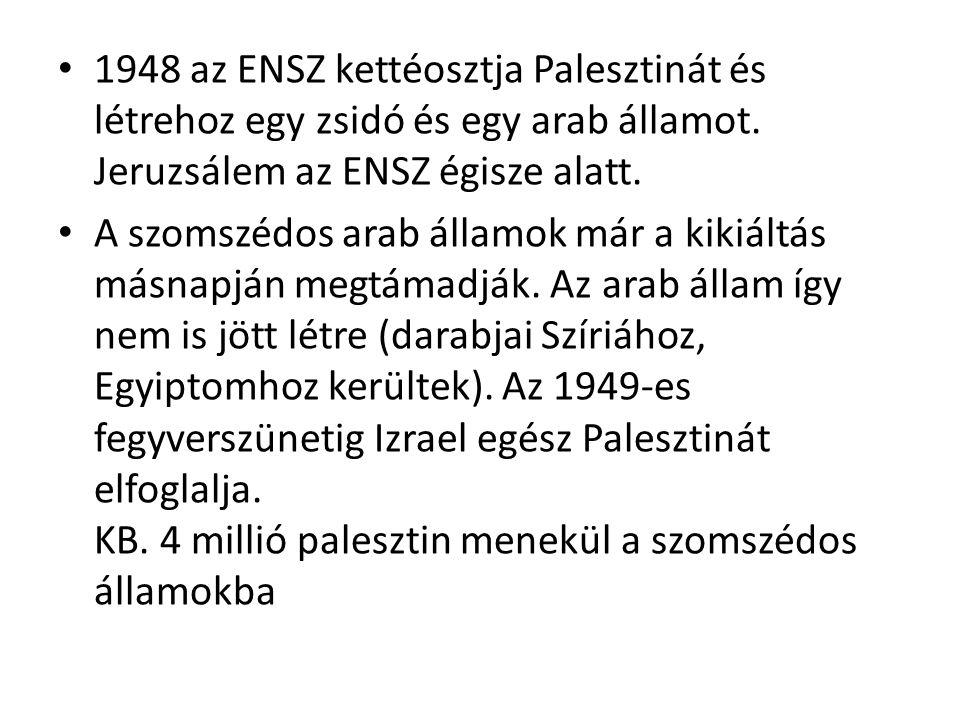 1948 az ENSZ kettéosztja Palesztinát és létrehoz egy zsidó és egy arab államot. Jeruzsálem az ENSZ égisze alatt. A szomszédos arab államok már a kikiá
