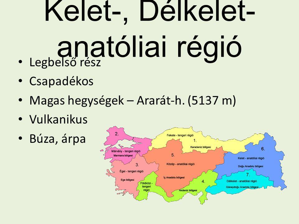 Kelet-, Délkelet- anatóliai régió Legbelső rész Csapadékos Magas hegységek – Ararát-h. (5137 m) Vulkanikus Búza, árpa