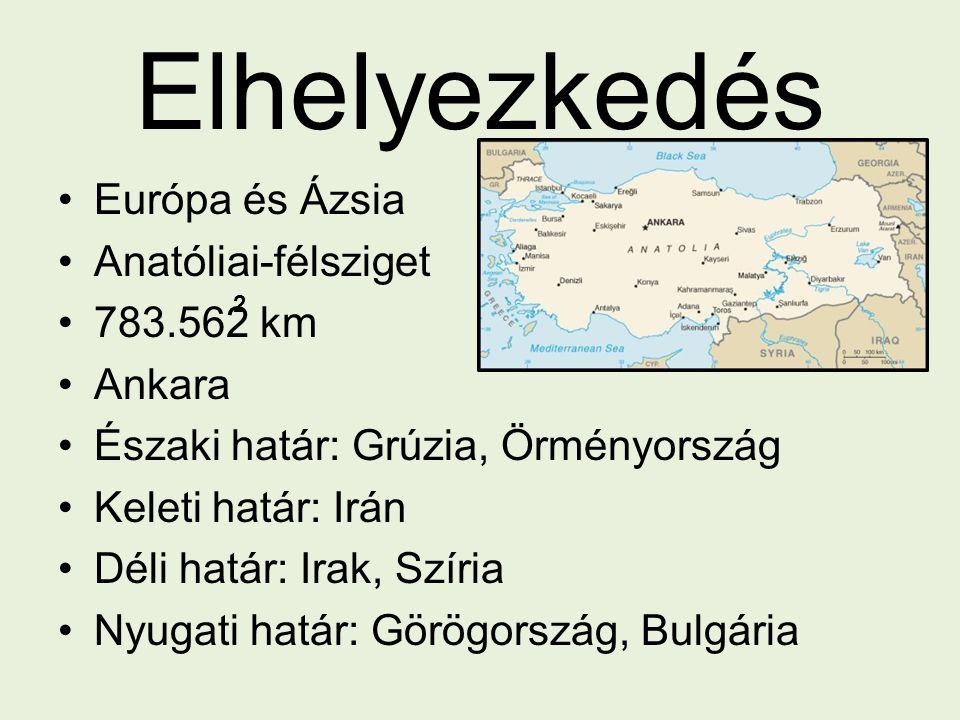 Elhelyezkedés Európa és Ázsia Anatóliai-félsziget 783.562 km Ankara Északi határ: Grúzia, Örményország Keleti határ: Irán Déli határ: Irak, Szíria Nyu