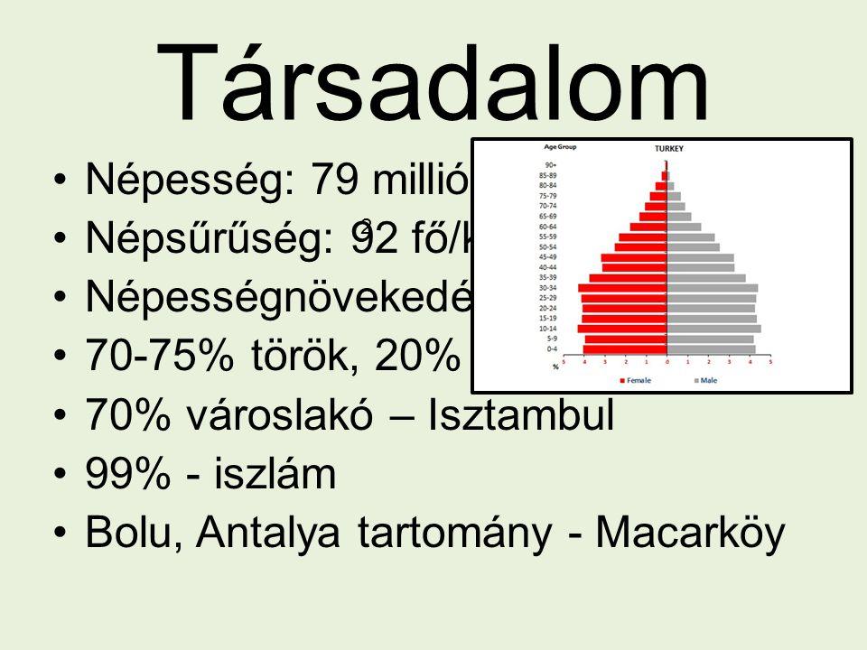 Társadalom Népesség: 79 millió fő Népsűrűség: 92 fő/km Népességnövekedés: 1,23% 70-75% török, 20% kurd 70% városlakó – Isztambul 99% - iszlám Bolu, An